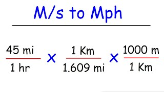 How To Convert Miles Per Hour To Meters Per Second Mph To M S Youtube