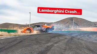 CRASHING MY LAMBORGHINI INTO WALL AT RACETRACK *NO INSURANCE*