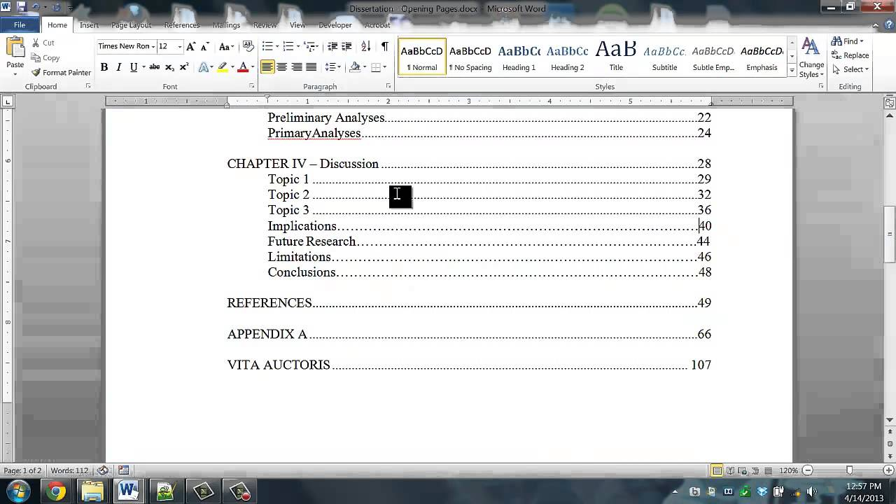 dissertation help  how to format your table of contents