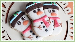 How make snowman cookies with little to no icing - Undecorated snowman cookies