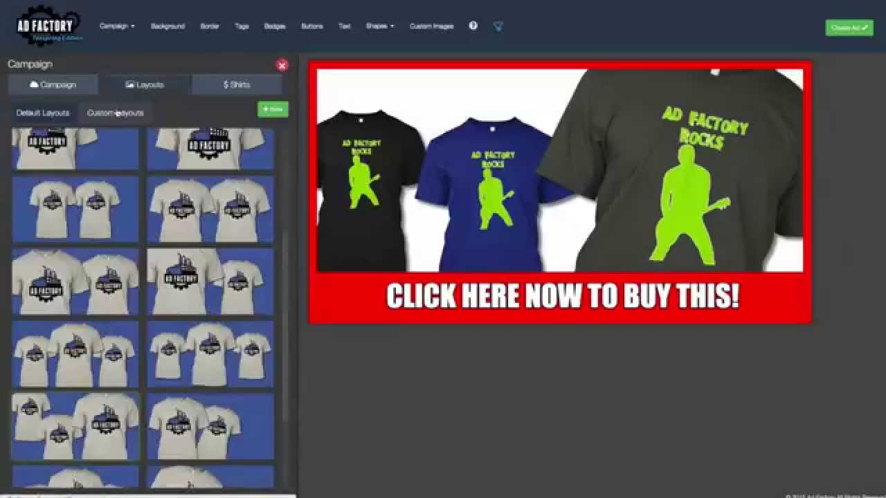 How To Use Templates In Ad Factory For Teespring Advertising YouTube - Youtube ad template