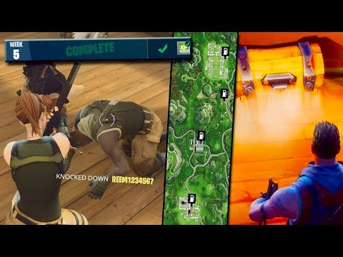 BEST WAY TO COMPLETE ALL FORTNITE WEEK 5 CHALLENGES | Gas Stations Locations, Moisty Mire Chests!