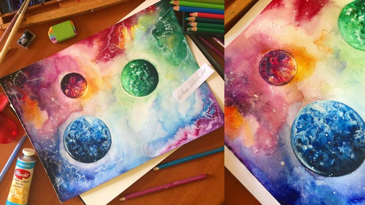 Картинки поздравлением, картинки космос акварелью поэтапно для начинающих
