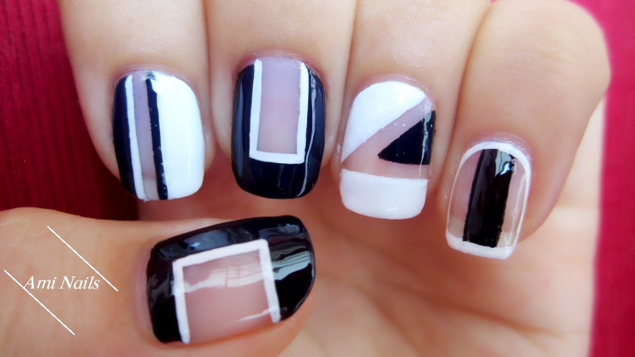 5 Easy Nail Art Designs With Black And White Nail Polish Youtube