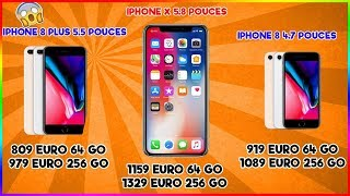 LES PRIX DE L'IPHONE X, 8, 8 PLUS !!!