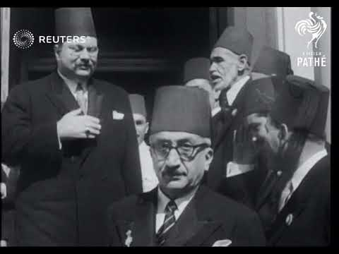 King Farouk opens parliament while workers leave Port Said (