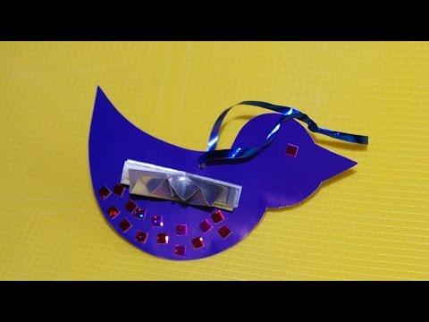 Птички. Новогодние елочные игрушки своими руками Поделки из картона и цветной бумаги для детей.