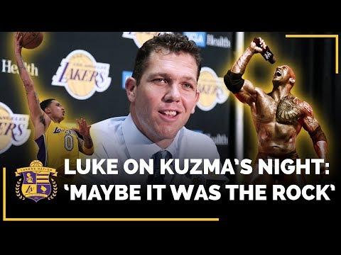 Luke Walton Thinks Dwayne 'The Rock' Johnson Might Have Had Some Influence On Kyle Kuzma's Big Night