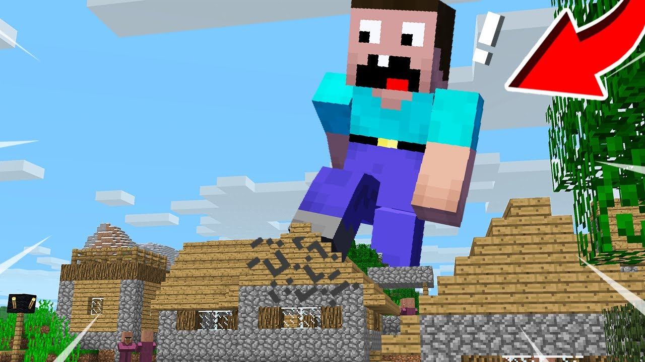NOOB BECAME a GIANT and DESTROYED the VILLAGE! in Minecraft Noob vs Pro
