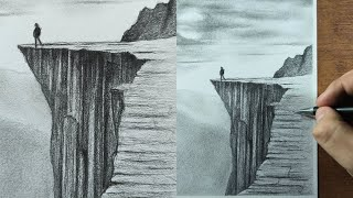 How to Draw CLIFFS with Pencil Step by Step (Landscape Drawing)