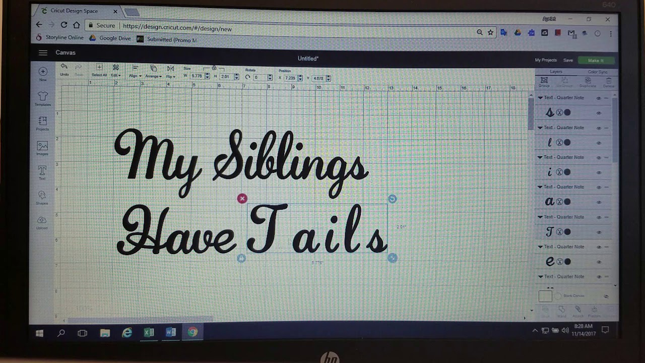 Connecting Cursive Letters in Cricut Design Space