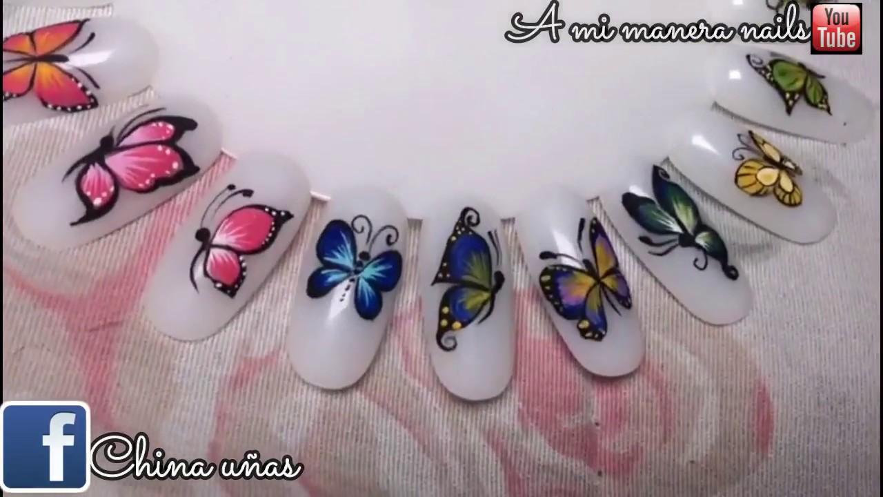 Diseño De Uñas Mariposa Paso A Paso Youtube