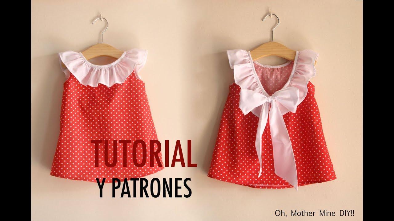 Aprender a coser  Vestido para niñas (patrones gratis tallas 1 a 7 años) e3eadb0cb07f
