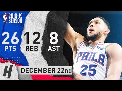 Ben Simmons Full Highlights 76ers vs Raptors 2018.12.22 - 26 Pts, 8 Ast, 12 Rebounds!