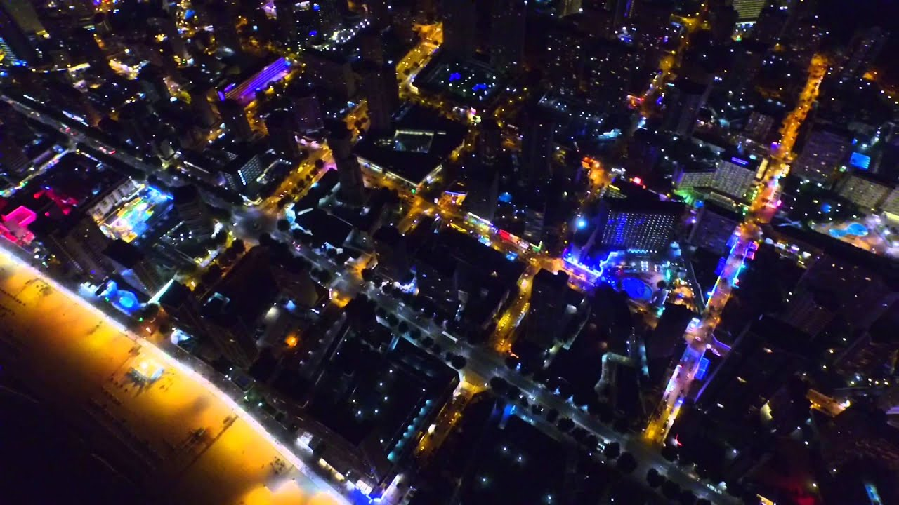 Merlin Wallpaper Hd Drone Night Benidorm City Youtube