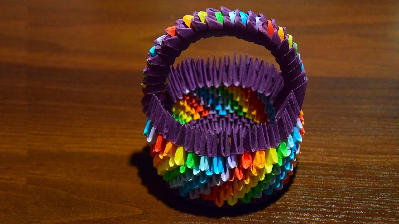 3d origami rainbow easter basket for eggs of paper