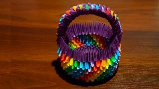 How to make a paper basket with handle. 3D origami tutorial ... | 180x320