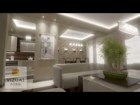 Projekt Aranżacja Salonu Dziennego Połączonego Z Kuchnią I Strefą Jadalną Sufity Podwieszane
