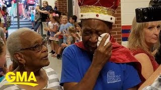 Children make 83-year-old janitor 'king' for a day