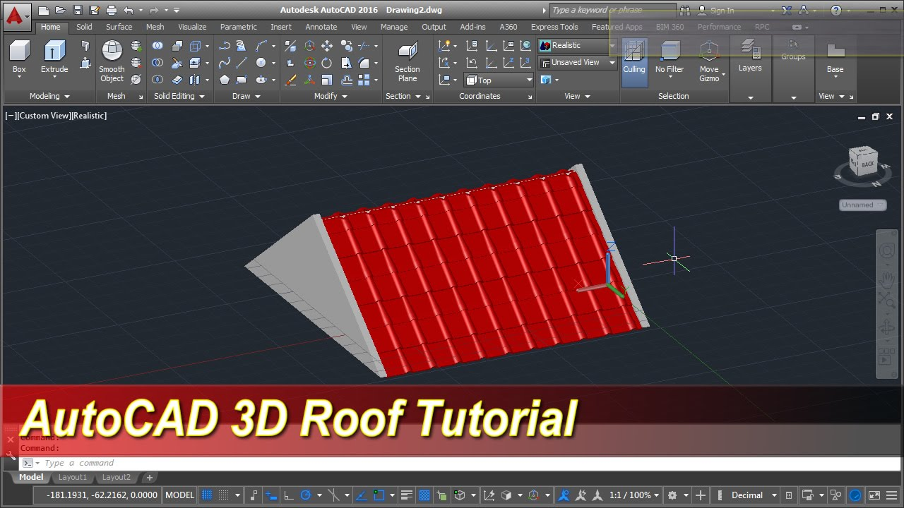 Autocad 3d Roof Modeling Tutorial Youtube