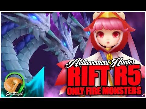 SUMMONERS WAR : Achievement Hunter - RAID R5 Only FIRE Monsters!