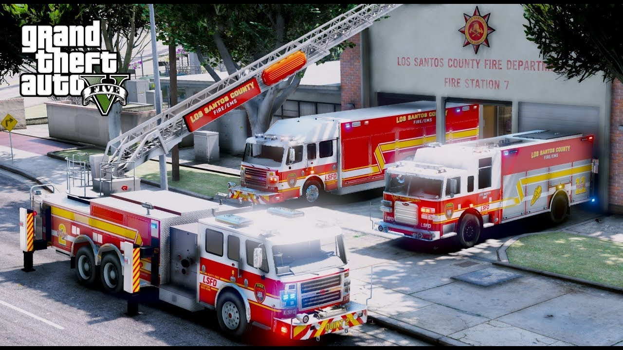 GTA 5 Firefighter Mod - Los Santos County Fire Station 7 - Brand New Ladder  & Heavy Rescue