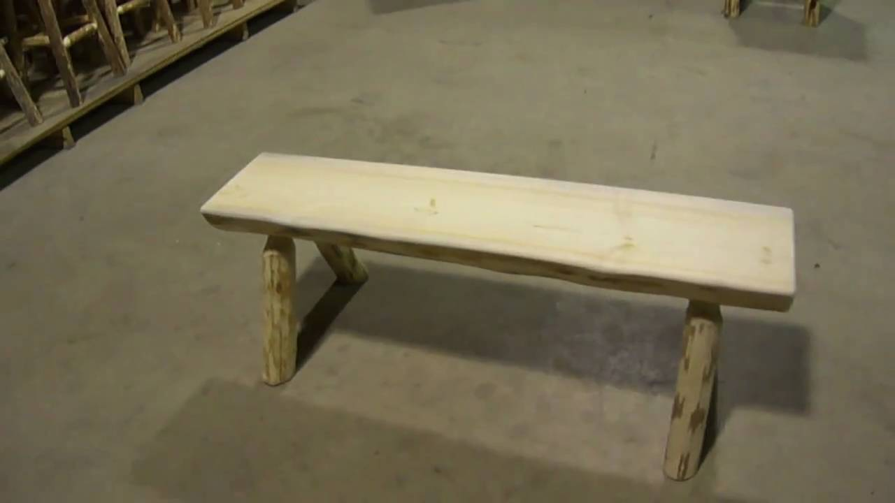 Amish Made Montana Log Furniture Half Log Bench By Montana Woodworks