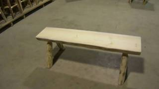Amish Made Montana Log Furniture Half Log Bench by Montana Woodworks