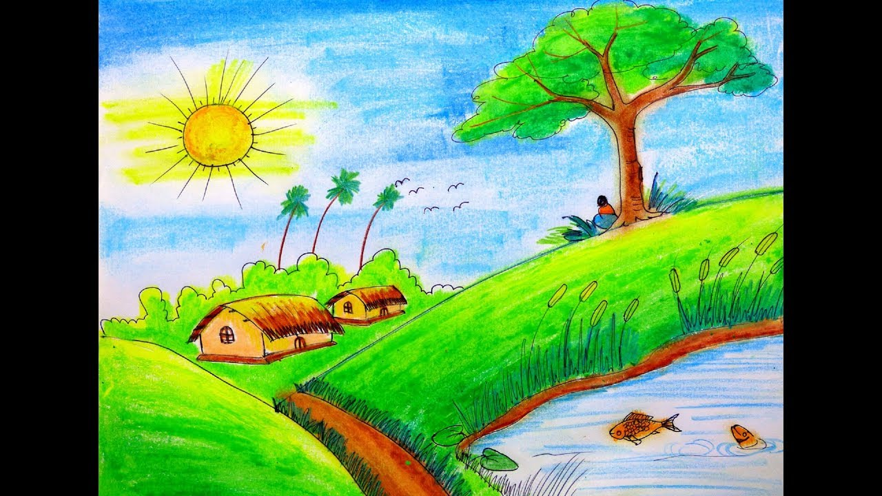 How to draw Scenery of Summer season step by step very