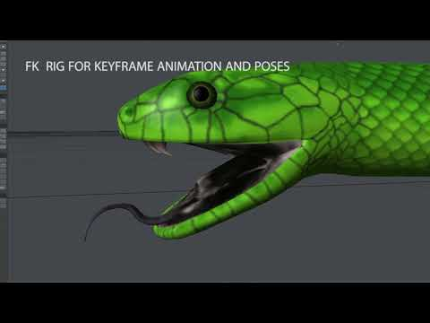 Animated 3D Model Green Mamba Preview
