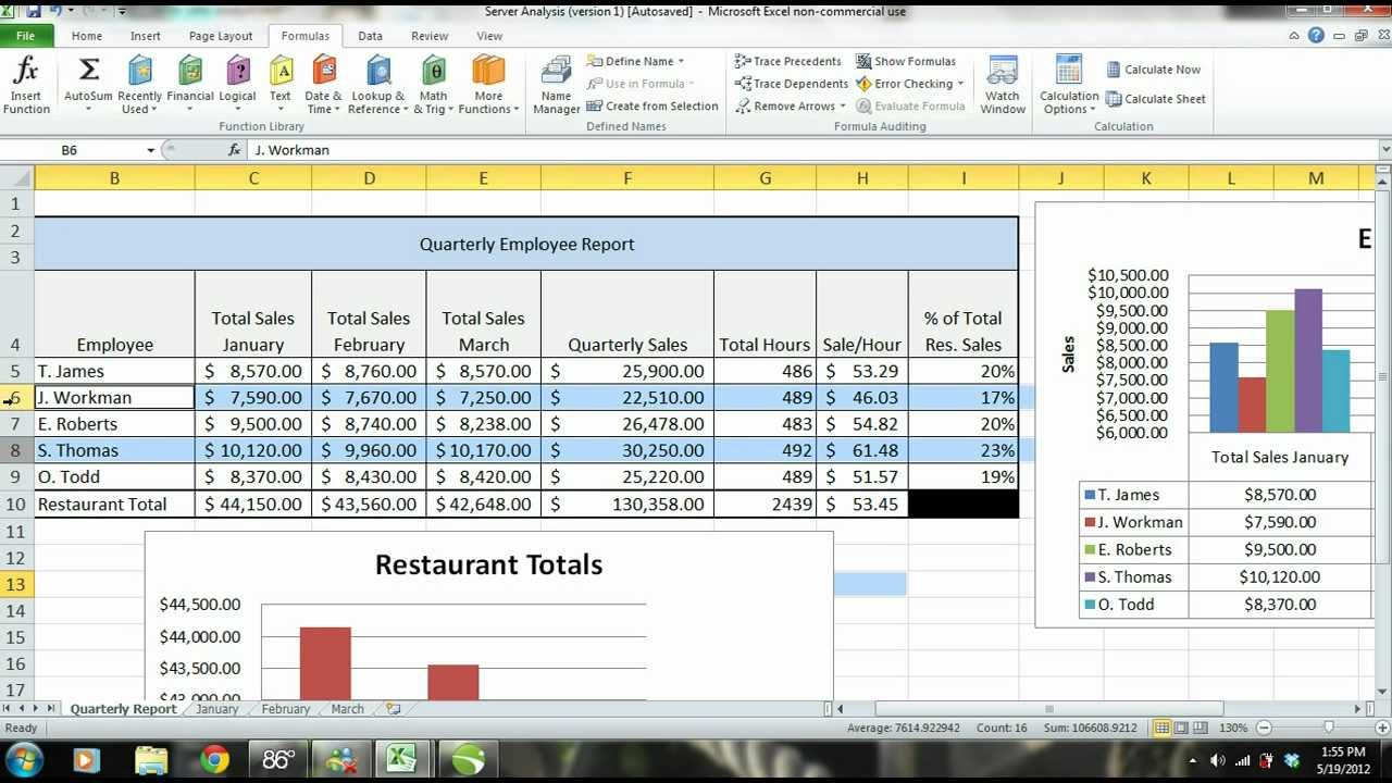 ms excel 2010 tutorial employee sales performance report analysis