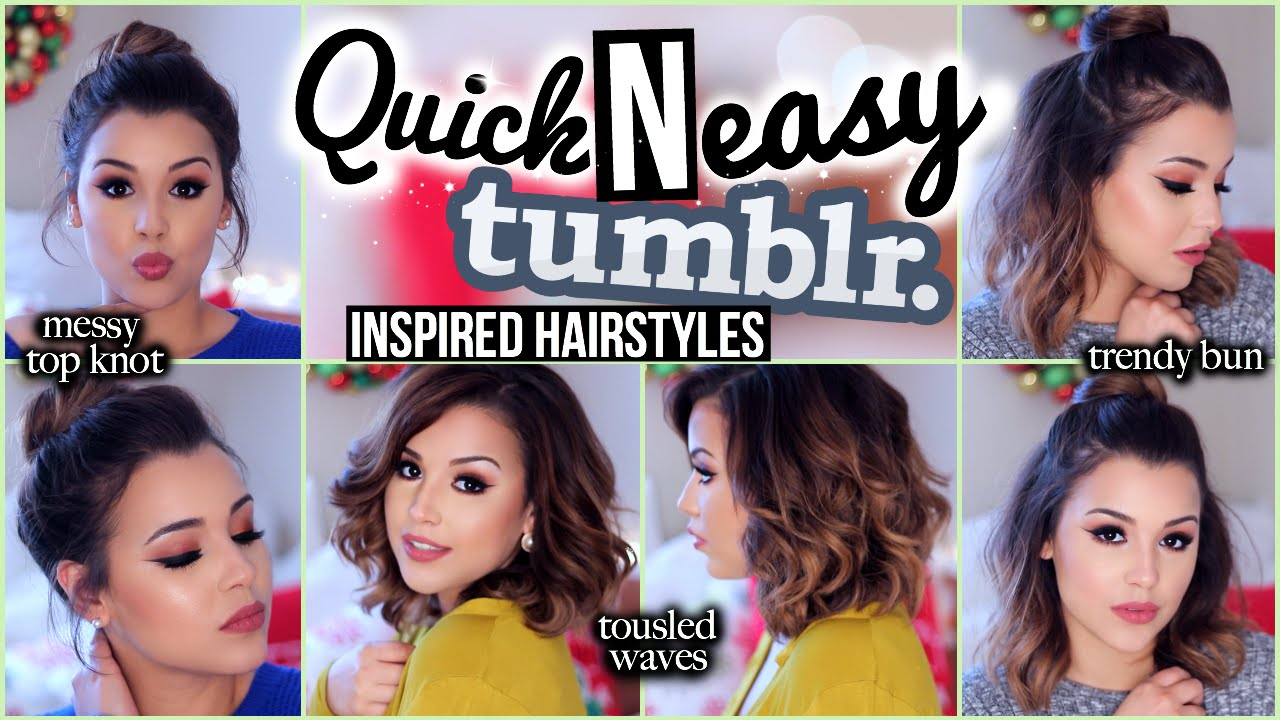 3 Quick N' Easy Tumblr Inspired Hairstyles MakeupbyAmarie YouTube
