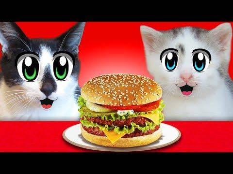 АНТИСТРЕСС VS ЕДА ЧЕЛЛЕНДЖ! КОТ МАЛЫШ и КОШЕЧКА МУРКА и Squishy Food VS REAL FOOD CHALLENGE! ИГРУШКИ