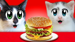 CONVENTIONAL FOOD VS SQUISHEES! CAT KID and CAT MURKA and Squishy Food VS REAL FOOD CHALLENGE! TOYS