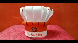 How to make a master chef cap || DIY  paper master chef cap || DIY cooking cap