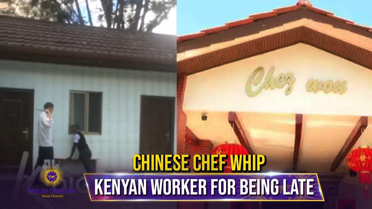 Chinese Hotel Chef Caught Caning Kenyan Waiter For Being Late To Work