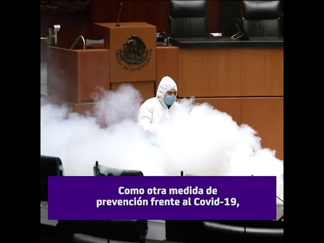 Sanitizan el Salón de Plenos del Senado