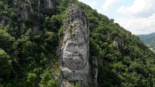 Rock Sculpture of Decebalus and the Danube by Drone | Romania | 4K
