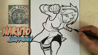COMO DIBUJAR A SAKURA HARUNO - NARUTO / how to draw sakura haruno - naruto