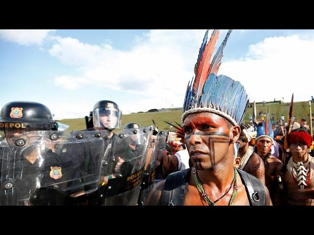 Thousands of indigenous Brazilians protest