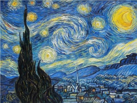 Van Goghs Starry Night and Self Portrait Painted on