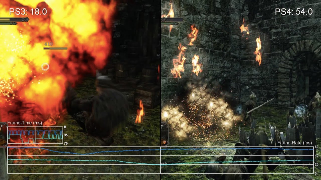 60fps] Dark Souls 2 PS4 vs PS3 Gameplay Frame-Rate Test - YouTube