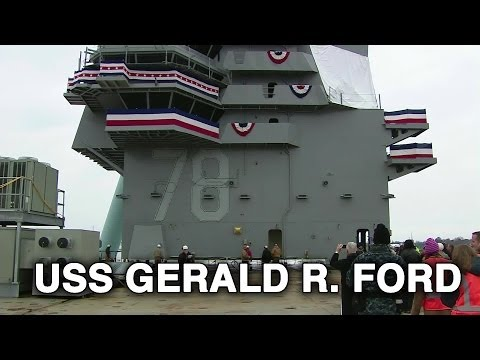 USS Gerald R. Ford - Island Lowered Onto the Flight Deck (01.28.2013)