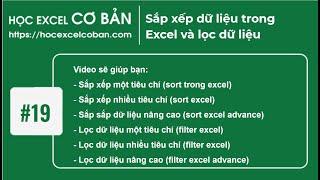 Học Excel cơ bản   #19 Sắp xếp dữ liệu trong Excel và lọc dữ liệu