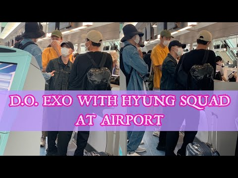 (190518) D.O EXO With HYUNG SQUAD (INSUNG, WOOBIN, SUNGWOO, KWANGSOO) At Haneda To Gimpo Airport