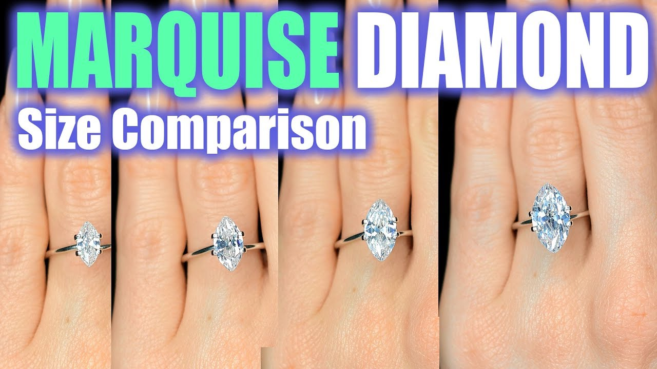 Marquise Cut Diamond Size Comparison On Hand Finger Engagement Ring Shaped 1 Carat 3 Ct 33 2 5 1 5