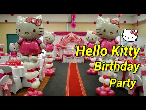 Hello kitty theme decorations specialized for balloon for Balloon decoration ideas youtube