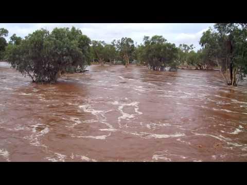 Todd River flowing in Alice Springs - 9th Jan 2010