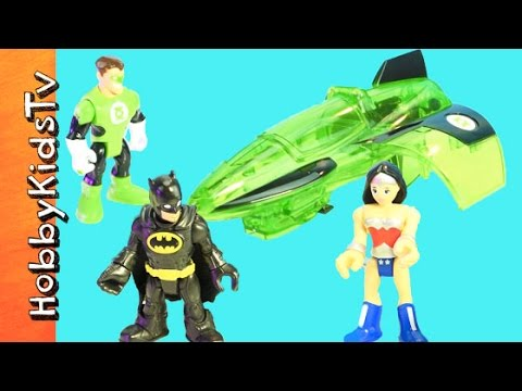 Imaginext Batman + Green Lantern Jet! WonderWoman Invisible Jet Adventure HobbyKidsTV