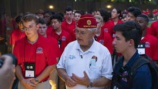 American Legion National Commander at Vietnam Memorial with Boys Nation delegates